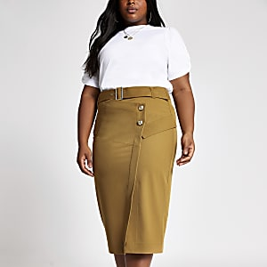 Plus light brown belted pencil skirt