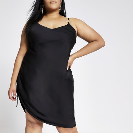 Plus black ruched side midi dress