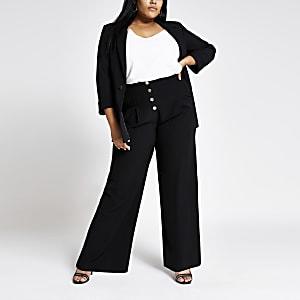 RI Plus - Zwarte broek met wijde pijpen