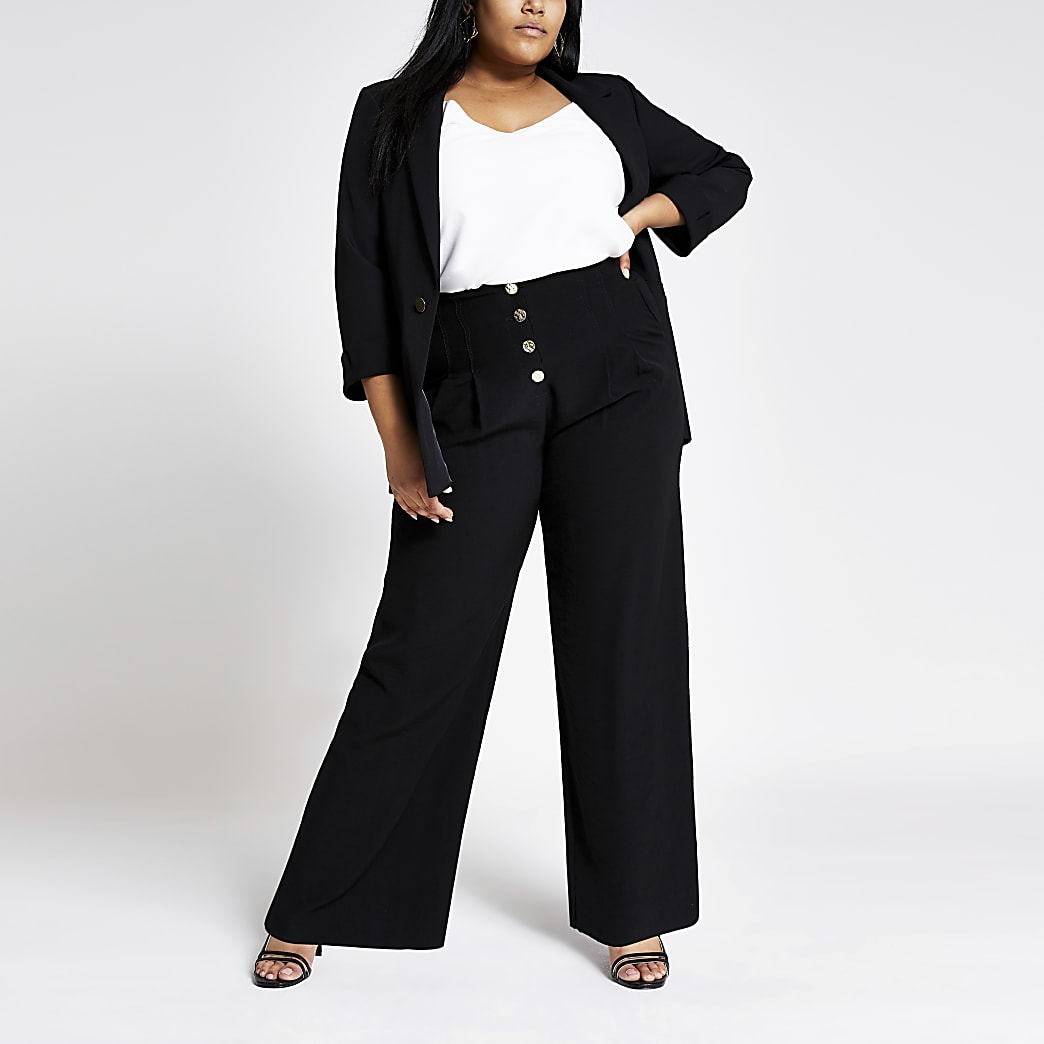 Plus black wide leg trousers