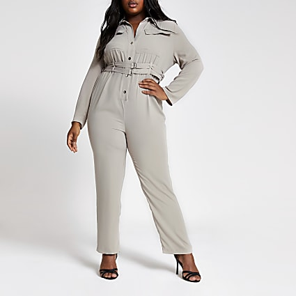 Plus light grey utility jumpsuit