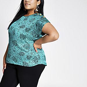 RI Plus - Groen T-shirt met print en korte mouwen