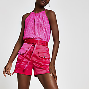 Utility Shorts in Pink