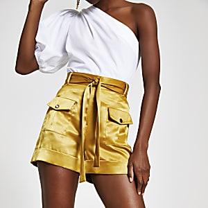 Yellow utility shorts