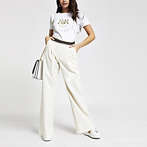 Cream wide leg pants