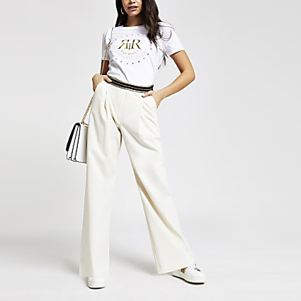 Cream wide leg trousers