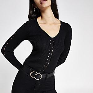 Zwarte kabeltrui met V-hals