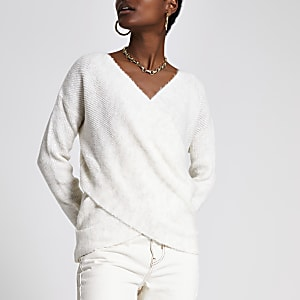 Cream knitted wrap top