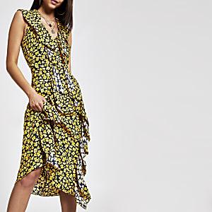 Gele midi-jurk met print en ruche