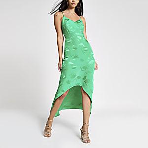 Green embroidered floral midi slip dress