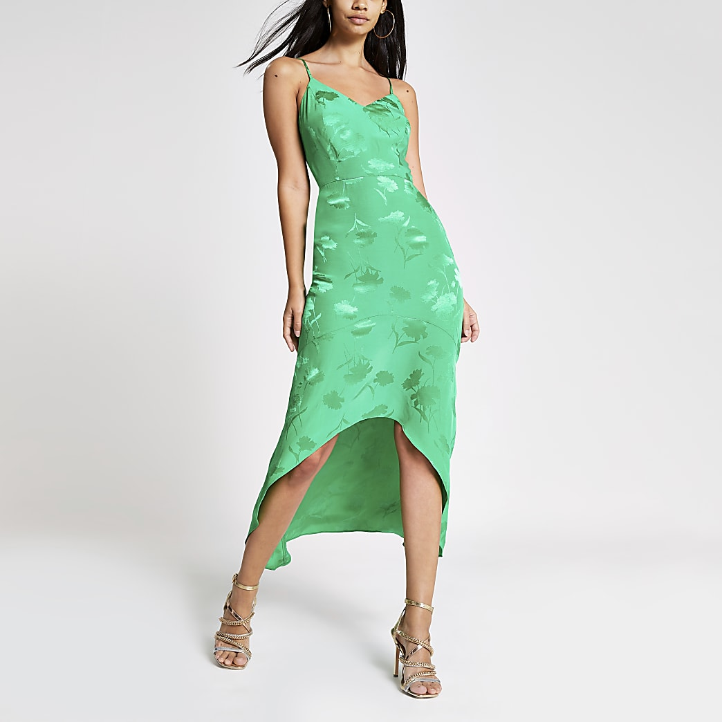 Green embroidered floral midi slip dress