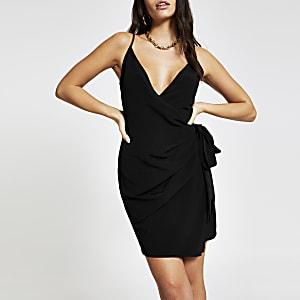Black tie side slip dress
