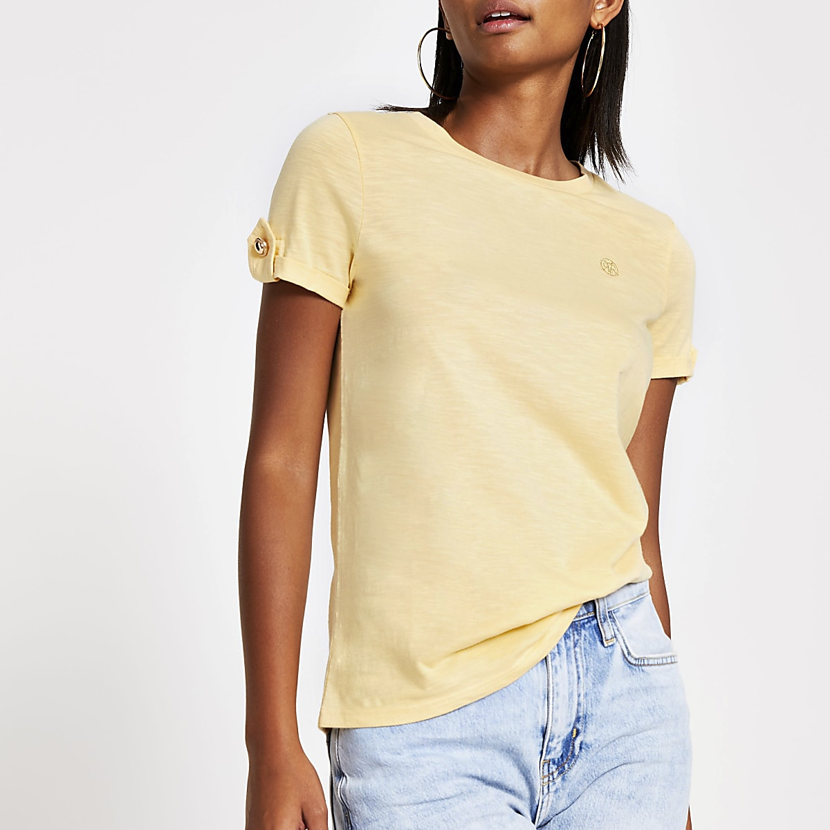 Yellow RI turn up sleeve T-shirt
