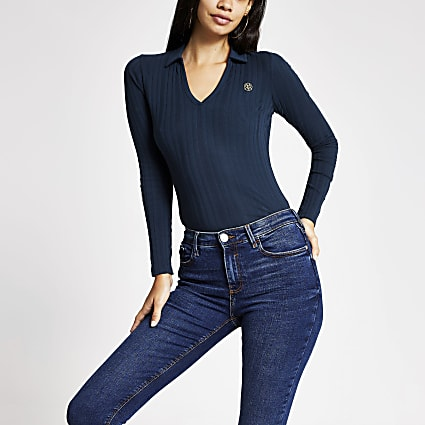 Navy ribbed long sleeve collar top