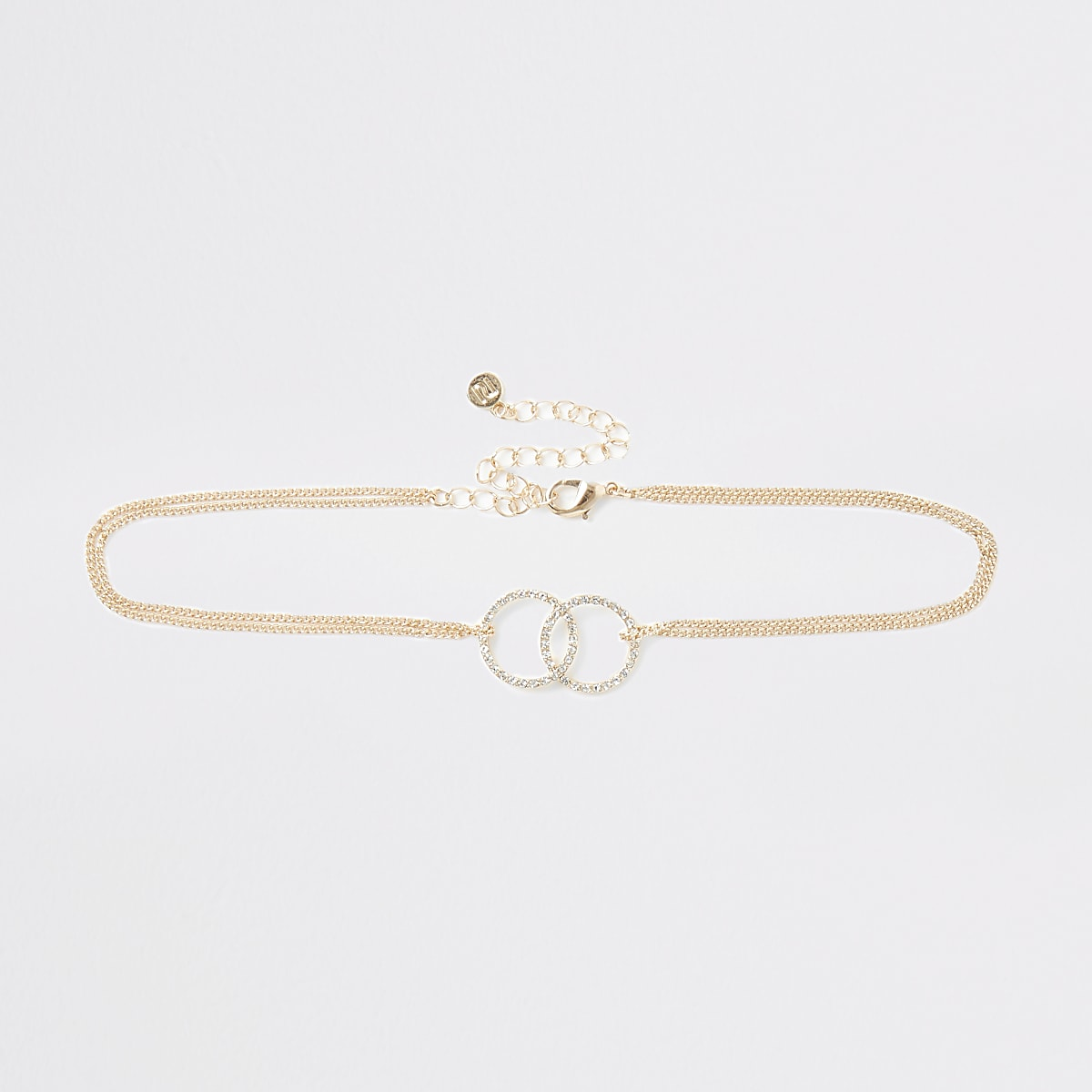 Gold colour interlinked choker necklace