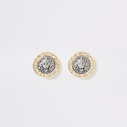 Gold colour lion head stud earrings