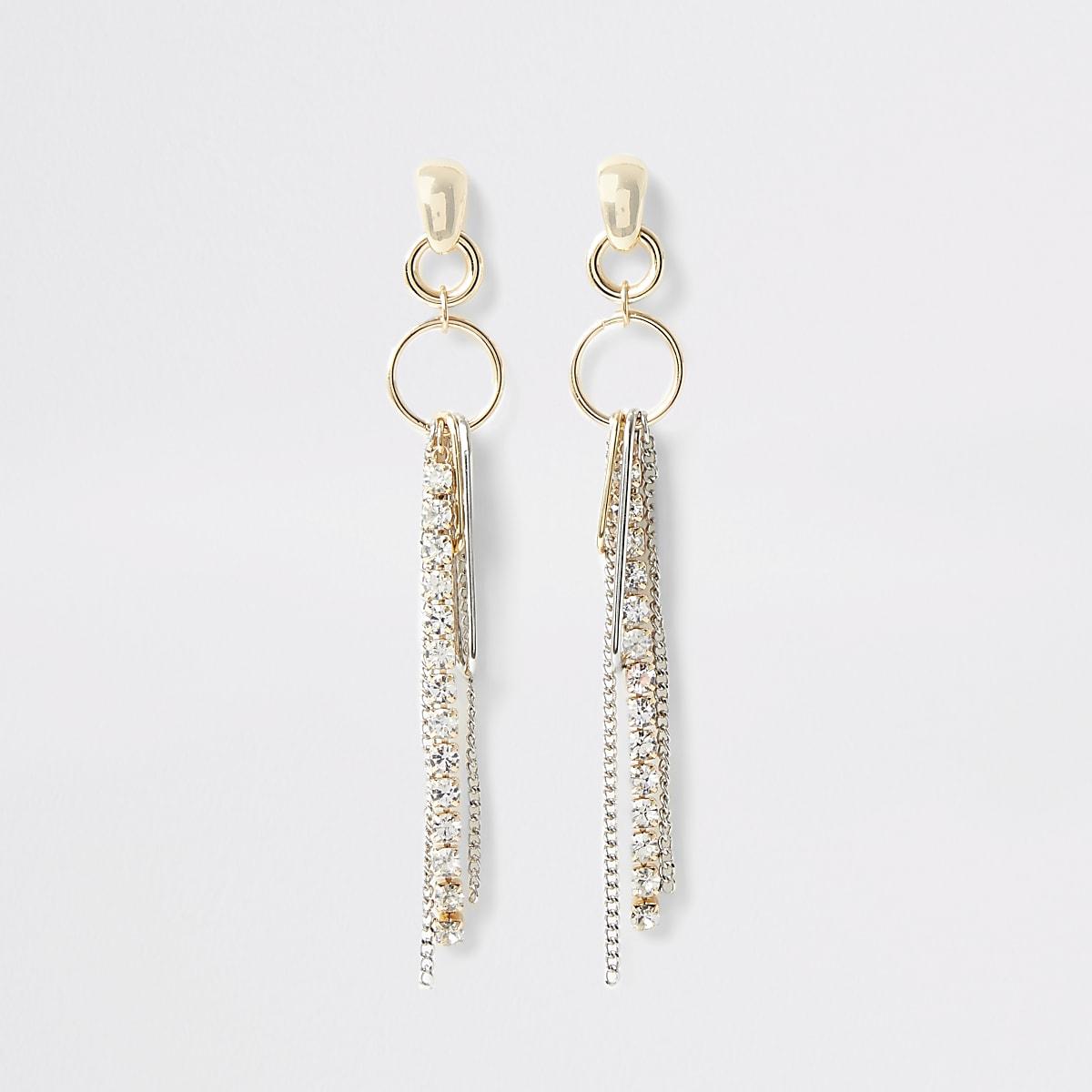 Gold colour cupchain drop earrings
