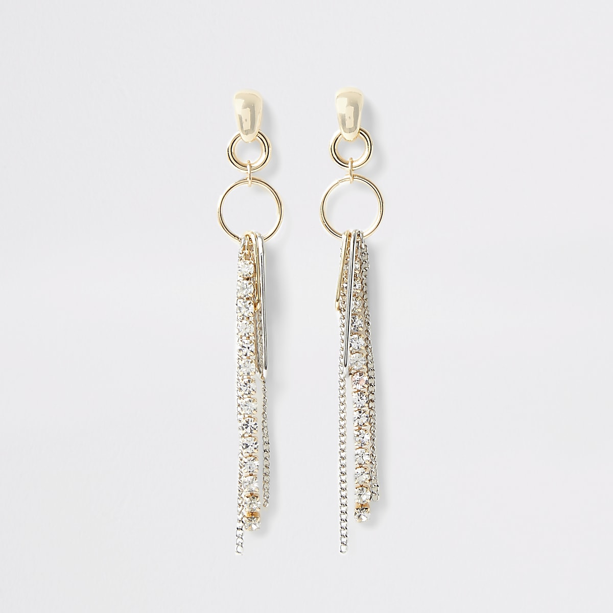 Gold color cupchain drop earrings