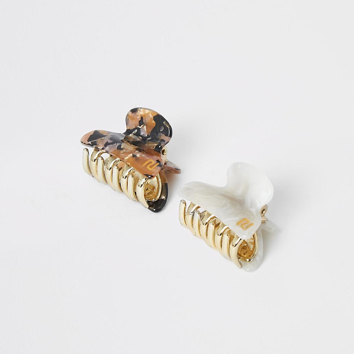 Tortoise shell mini banana clip multipack