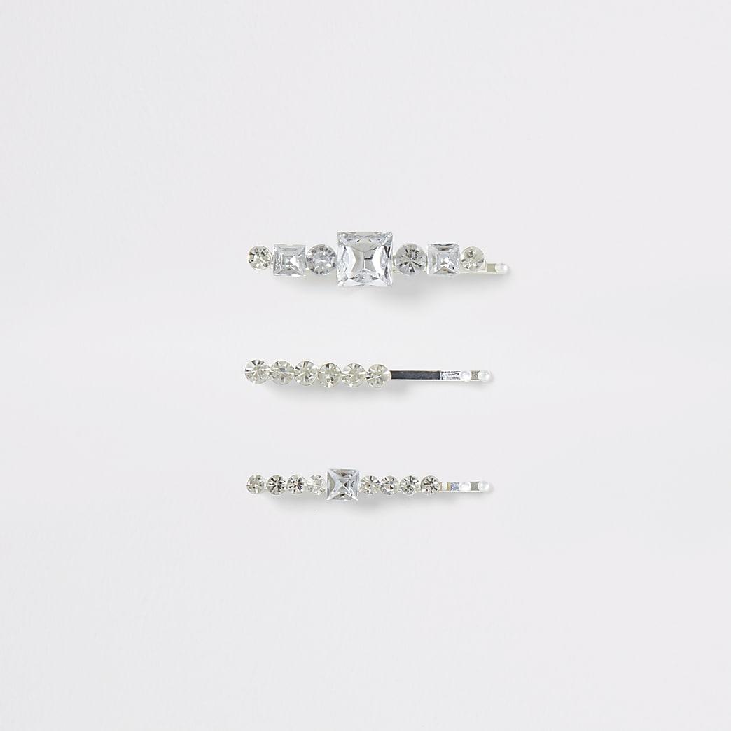 Silver colour diamante bling hair slides