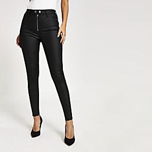 """Schwarze, beschichtete High-Rise-Jeans """"Hailey"""""""