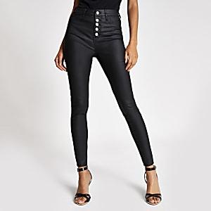 Hailey - Zwarte jeans met coating en knopen voor