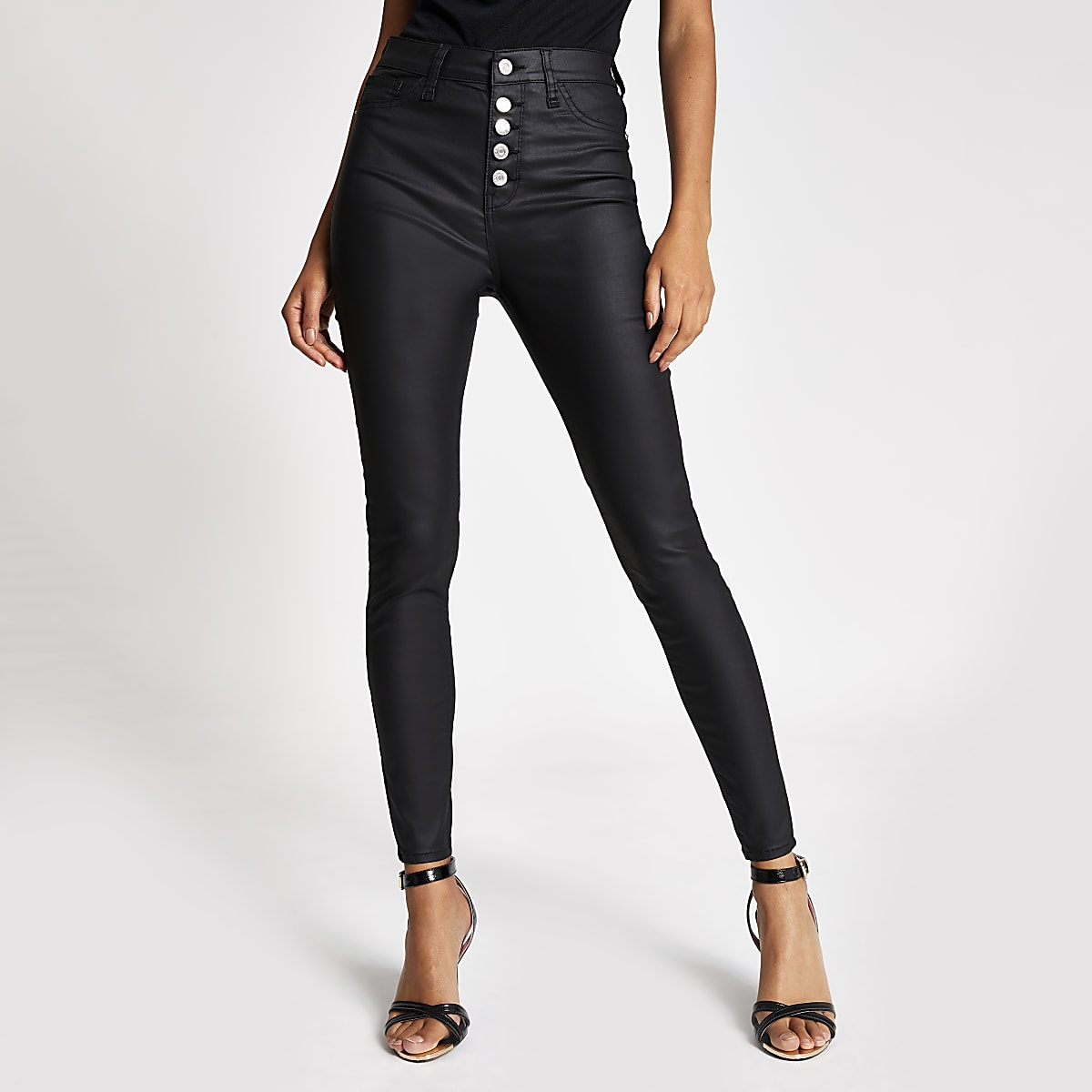 Black coated Hailey button front jeans