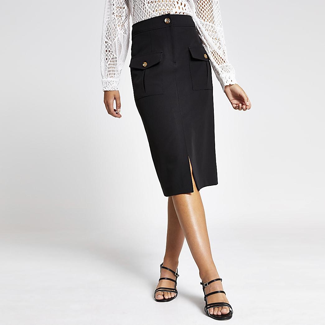 Black utility pocket pencil skirt