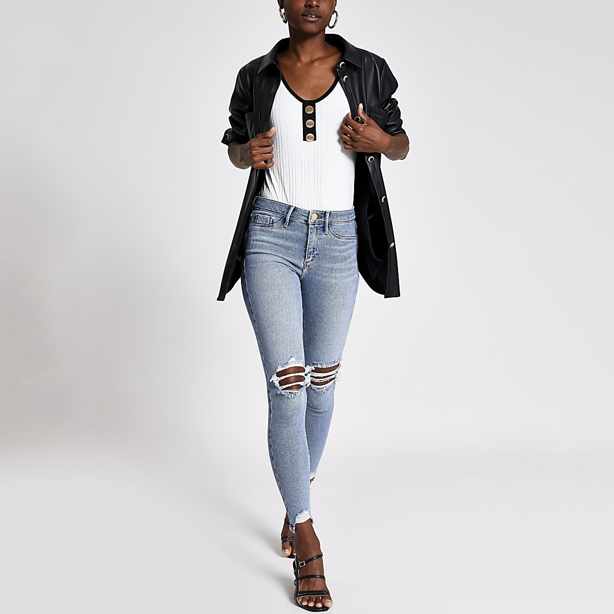 Molly - Denim ripped legging met halfhoge taille