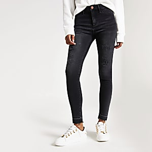 Molly - Zwarte wash distressed jeggings