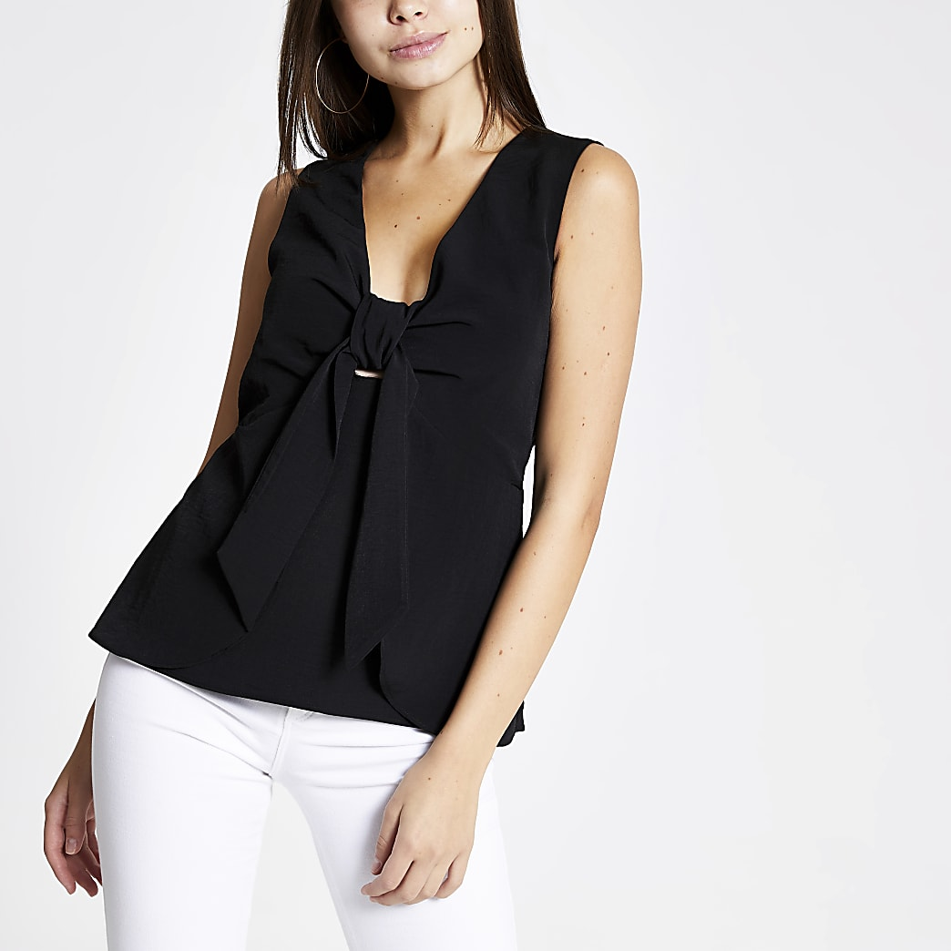 Black bow front tank top