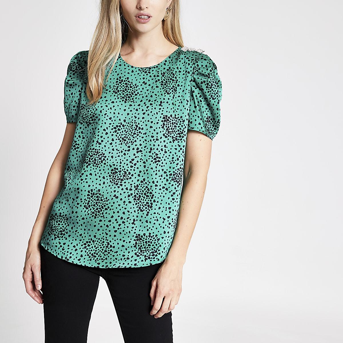 Green print puff sleeve top