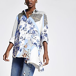 Chemise à imprimé foulard bleue