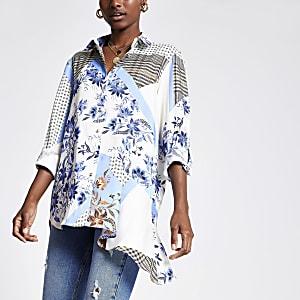 Blauw overhemd met sjaalprint