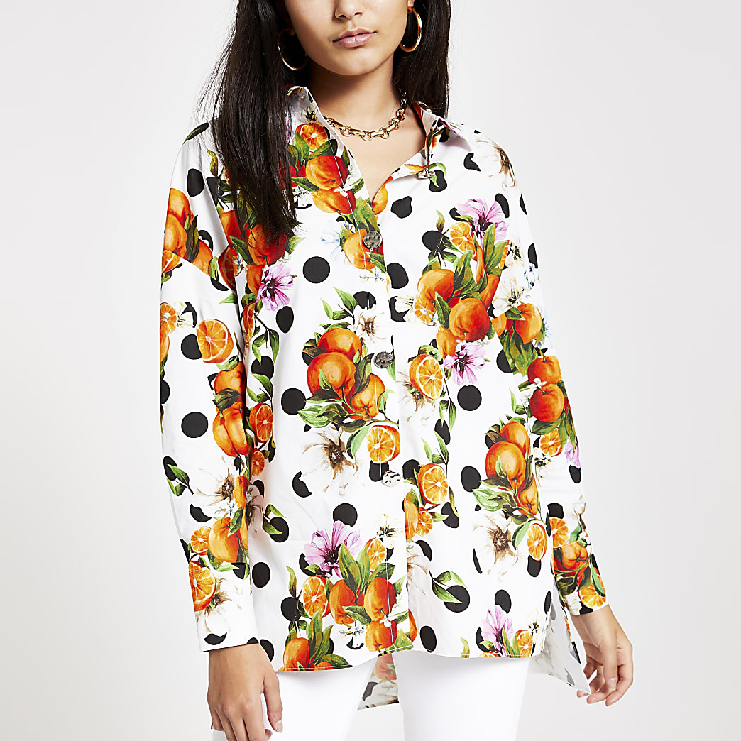 Oranje tuniekoverhemd met print
