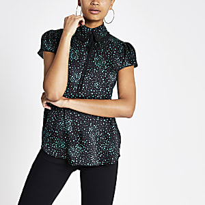 Green print tie collar top