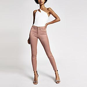 Molly - Roze metallic jeans met middelhoge taille