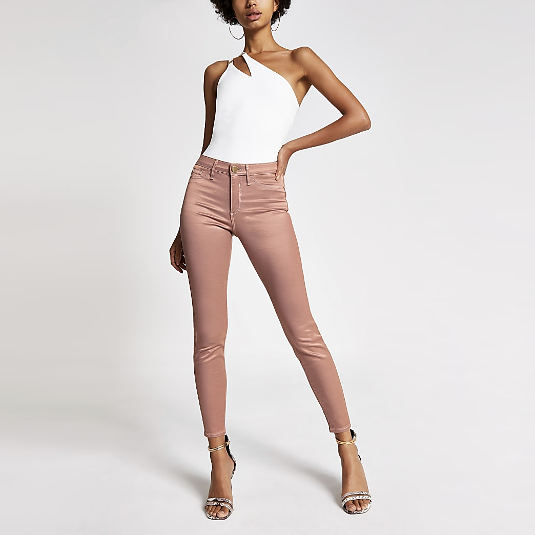 Pink metallic Molly mid rise jeans