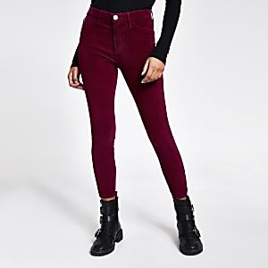 Molly - Donkerrode corduroy jegging