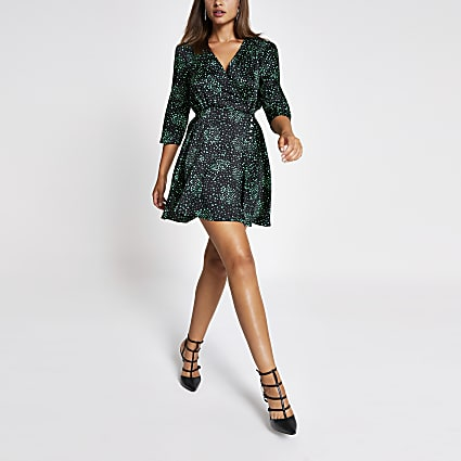 Black heart print wrap mini dress