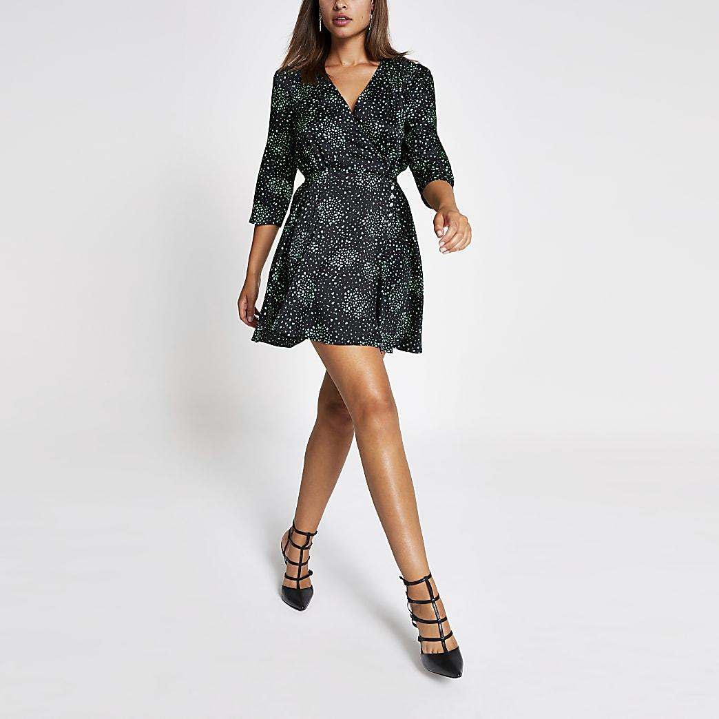 Black heart print wrap mini dress