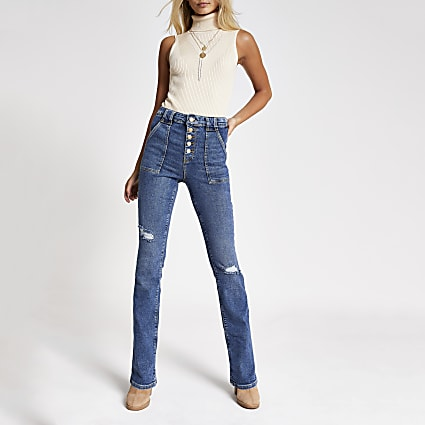Blue ripped denim bootcut utility jeans