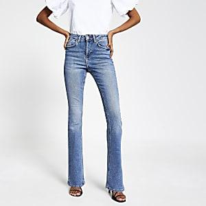 Blauwe denim bootcut uitlopende jeans met hoge taille