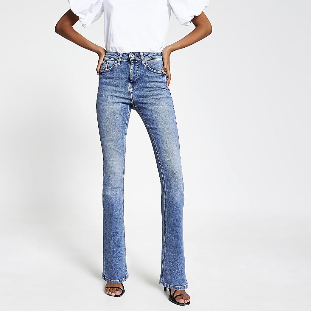 Blue high rise bootcut flare denim jeans