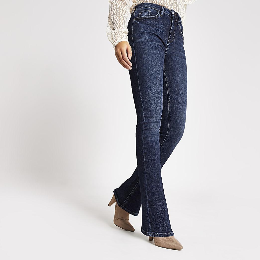 Dunkelblaue Bootcut Jeans mit Schlag und hohem Bund