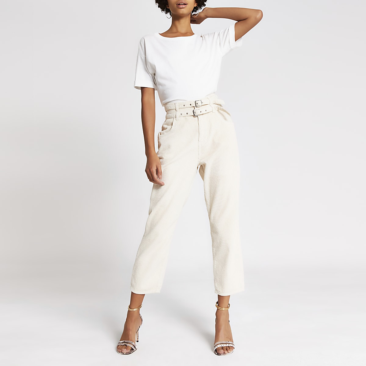 Cream corduroy tapered belted trousers
