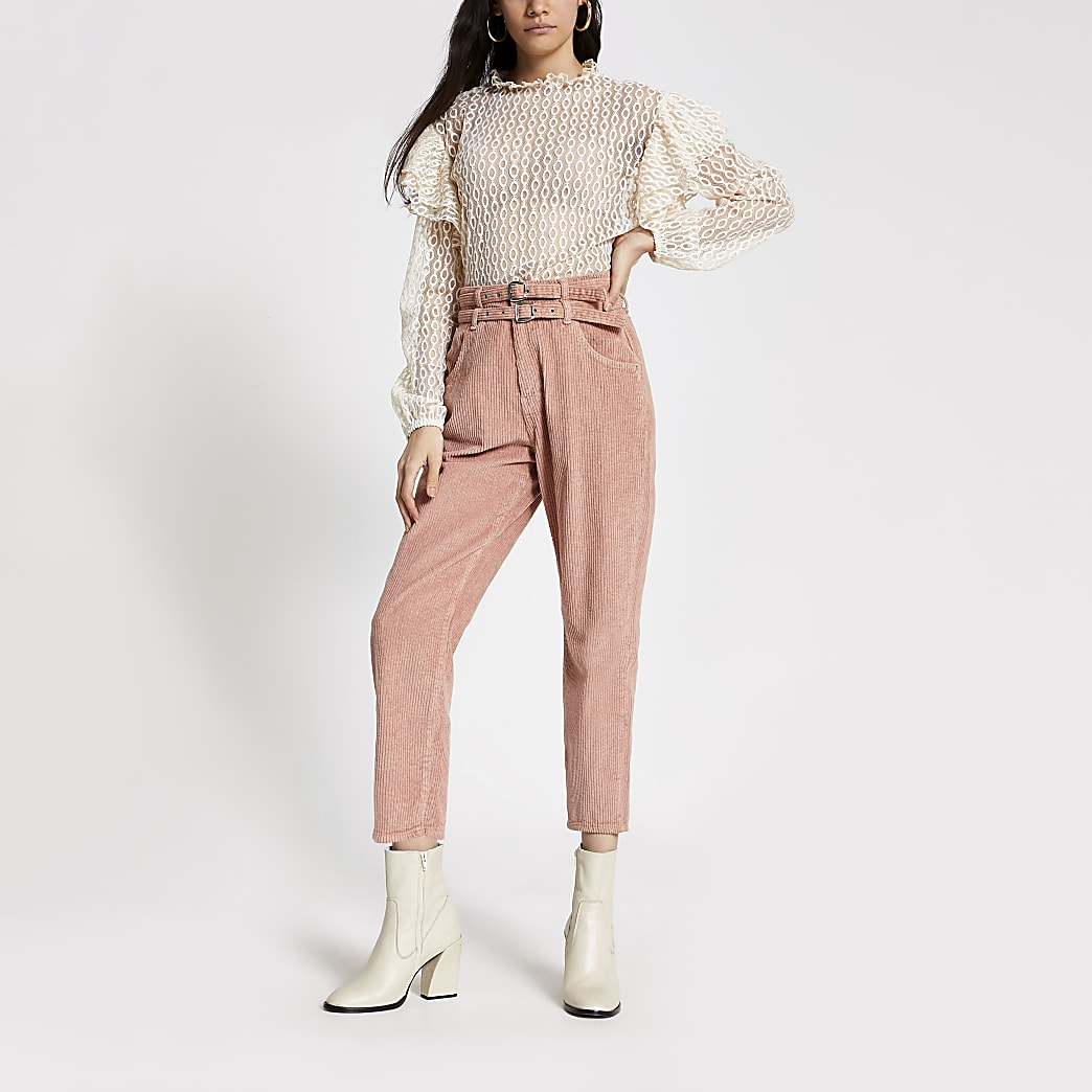 Pink corduroy tapered belted jeans