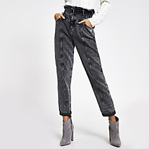 Grey acid wash paperbag waist utility jeans