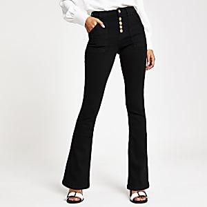 Schwarze Bootcut-Jeans im Utility-Look