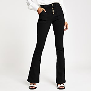 Zwarte denim utility bootcut jeans
